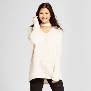Sweaters - Oversized choker neck sweater